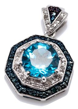 Sale 9160 - Lot 331 - A TOPAZ AND DIAMOND CLUSTER PENDANT; hexagon silver pendant centring a round cut blue topaz of approx. 4.70ct to double surround and...