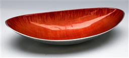 Sale 9153 - Lot 58 - A Danish serving tray with orange enamel lining H8cm L38cm