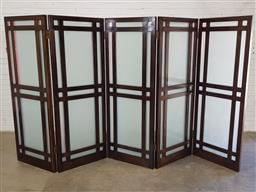 Sale 9157 - Lot 1047 - Oriental 5 panel timber & opaque glass screens by the Nine School in England (h182 x w69cm each panel )