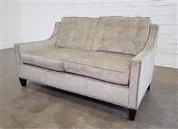Sale 9191 - Lot 1040 - Green fabric 2 seater settee with studded trim (h:83 x w:162 x d:63cm)
