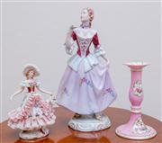 Sale 8430 - Lot 96 - A large Royal Dux figure (A/F) a crinoline figure and candlestick