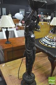 Sale 8418 - Lot 1073 - Large Figural Table Lamp (damaged)