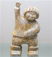 Sale 8593A - Lot 5 - A carved soap stone figure of a Chinese youth, signed Oliviera 91, H 24cm