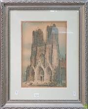 Sale 8604 - Lot 2054 - Artist Unknown - Cathedral, offset lithograph, 49 x 60cm, (frame) signed lower left