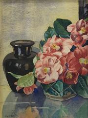 Sale 8663 - Lot 2026 - JG Croft - Camelias, watercolour (AF), signed lower left -