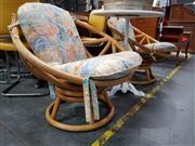 Sale 8680 - Lot 1084 - Pair of Manila Cane Tub Chairs with Cushions