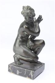 Sale 8698 - Lot 59 - Bronze Figure Of A Grecian Lady Kneeling (H:19cm)