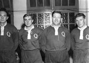 Sale 8754A - Lot 78 - Queensland Rugby Union Players, 1953 - Geoff Michelmore, Gavin Horsley, N. Betts, T. Corcoran 16 x 21cm