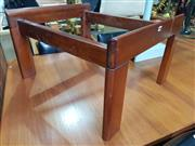 Sale 8859 - Lot 1034A - Vintage Smokey Glass Side Table With Timber Legs