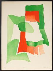 Sale 9004 - Lot 2008 - Patrick Jannin-Oms (1944 - ) (Green &Red) embossed aquatint, ed. 7/60, 80 x 60cm (frame) signed