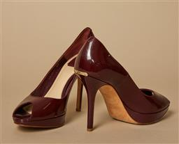 Sale 9093F - Lot 35 - A pair of Christian Dior burgundy peep toe heels size 40