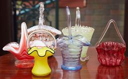 Sale 9103M - Lot 412 - A collection of six glass baskets in various colours