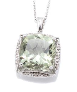Sale 9246J - Lot 338 - A SILVER GREEN AMETHYST AND DIAMOND PENDANT NECKLACE; centring an approx. 11.23ct cushion cut green amethyst to surround of 16 singl...