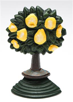 Sale 9246 - Lot 95 - A cast iron pear tree form door stop (H:21.5cm)
