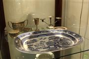 Sale 8288 - Lot 67 - English Blue & White Meat Dish with Silver Plated Wares