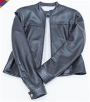 Sale 8346A - Lot 153 - A black leather biker jacket by Jacque, size 12