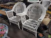 Sale 8601 - Lot 1219 - Pair of Wicker Armchairs