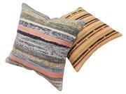 Sale 8725C - Lot 37 - A Pair of Vintage Turkish Jajim Carpet Cushions, Wool, 50x50cm, RRP $350