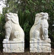 Sale 8772A - Lot 31 - A Pair Large Impressive Carved Marble Temple Foo Dogs Each Carved From One Piece Of Marble, Size: 63cm H x 28cm W x 31 cm L General ...