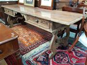 Sale 8831 - Lot 1074A - Large Timber Hall Table with Two Drawers & Scrolled Base