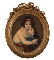 Sale 8902H - Lot 46 - Antique French School - Portrait of a Mother and Daughter unsigned