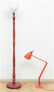 Sale 9058H - Lot 55 - A timber standard lamp with plastic shade together with a red planet lamp Height of tallest 161cm