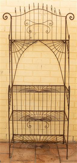 Sale 9120H - Lot 3 - An ornate wirework garden pot stand, Height 195cm x Width 95cm x Depth 41cm