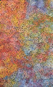 Sale 8288A - Lot 27 - Gloria Petyarre (c1945 - ) - Mountain Devil Lizard (swirling in the sand) 155 x 95cm