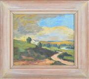 Sale 8339A - Lot 546 - Roland Wakelin (1887 - 1971) - Untitled (Church on Hill), 1953 18 x 21.5cm