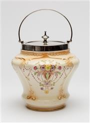Sale 8651A - Lot 93 - An English Devon ware pottery and silverplate floral biscuit barrel c. 1920s, H to top of handle 23cm