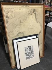 Sale 8674 - Lot 2095 - Framed Map of Port Phillip & 3 Other Artworks