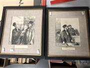 Sale 8789 - Lot 2342 - Pair of Decorative Prints After Honore Dumier (40.5 x 35cm, frames)