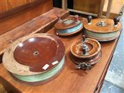 Sale 8859 - Lot 1072 - Collection of 4 Vintage Timber Fishing Reels