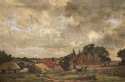 Sale 8929 - Lot 598 - German School (Early C20th) - Country Scene with Cottages, 1911 47 x 72.5 cm