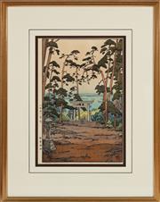Sale 9023H - Lot 20 - TOSHI YOSHIDA (1911-1995) The Stone Shrine, Akiba,  wood block print on paper.A/P frame size 61x 48cm.  Provenance Peter Elliott.