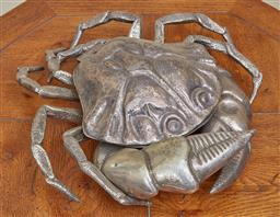 Sale 9097H - Lot 28 - A silver plated hinged crab table top dish, 42cm x 29cm