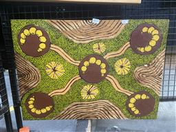 Sale 9101 - Lot 2033 - Aboriginal Work on Wood, Artist Unknown - Witchetty Grub Dreaming, 60x43cm, COA verso -