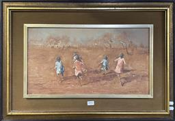Sale 9152 - Lot 2002 - Tony Costa Aboriginal Children Playing oil on canvas laid on board 46 x 66 cm (frame) signed lower right