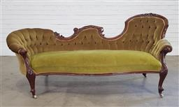 Sale 9196 - Lot 1027 - Victorian Carved Walnut Settee, with one end raised, upholstered in a mustard velvet & raised on cabriole legs (h89 x w190 x d82cm)