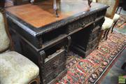 Sale 8335 - Lot 1077 - Late 19th Century Flemish Carved Oak Double Pedestal Desk, with brown leather top & nine drawers having lion mask handles
