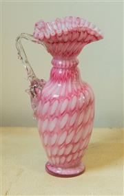 Sale 8420A - Lot 35 - A pink Murano crimped art glass vase, measurements: 20cm high, condition: vintage very good no damage