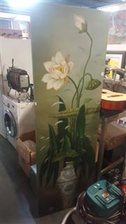 Sale 8433 - Lot 2058 - Artist Unknown, Lily in Blue & White Vase, oil, 186x60cm