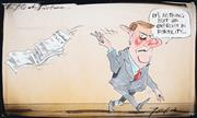 Sale 8883A - Lot 5022 - Bill Leak (1956 - 2017) - The Bleak Picture: Peter Costello - Population Growth & Policy 19 x 32 cm
