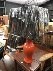 Sale 8822 - Lot 1698 - Pair of Italian Burnt Orange Ceramic Table Lamps (2620)