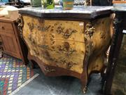 Sale 8822 - Lot 1823 - Impressive Serpentine Front Bombe Style Chest of Three Drawers with Marble Top and Brass Mounts - 281