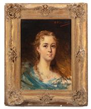 Sale 8902H - Lot 18 - C19th French School - Portrait of a Lady signed upper right