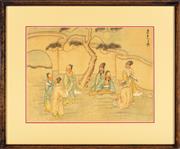 Sale 9080J - Lot 85 - Chinese school - Musicians amongst a landscape 25 x 33cm