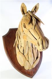Sale 8989 - Lot 12 - Teak Driftwood Horse Head Mounted On Shield (Shield Size L:73cm x W:59cm)
