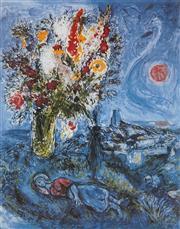 Sale 8985A - Lot 5039 - Marc Chagall (1887 - 1985) - La Dormeuse Aux Fleurs 90 x 63.5 cm (frame: 113 x 87 x 3 cm)