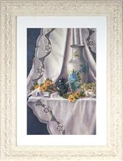 Sale 9041 - Lot 2004 - Artist Unknown Still Life: Oriental Ware, Grapes, Chrysanthemums and Lace oil on canvas on board 57.5 x 37.5cm (frame:87 x 67cm) s...